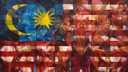 Ali-Nurazmal-Yusoff,-Patriotic,-Oil-on-Canvas,-183-cm-x-320-cm-(7-panels),-2015_Image-courtesy-of-Core-Design-Gallery